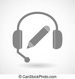casque à écouteurs, assistance, icône, crayon