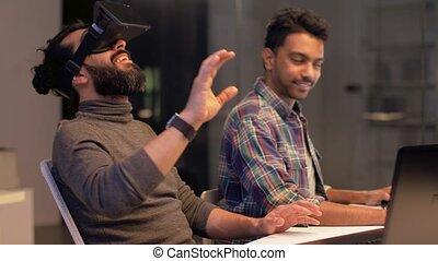 casque à écouteurs, bureau, virtuel, créatif, réalité, homme