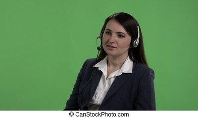 casque à écouteurs, centre, écran, ouvrier, contre, appel téléphonique, vert, prend