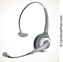 casque à écouteurs, centre, appeler