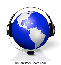 casque à écouteurs, concept, centre, global, -, appeler, 3d