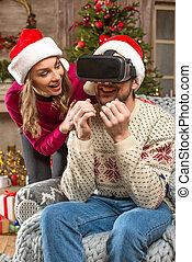 casque à écouteurs, couple, réalité, virtuel, utilisation