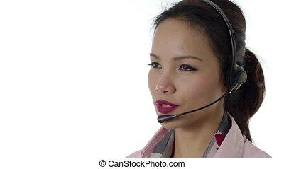 casque à écouteurs, femme affaires, asiatique