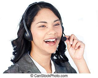 casque à écouteurs, femme affaires, conversation