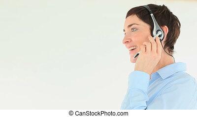 casque à écouteurs, femme affaires