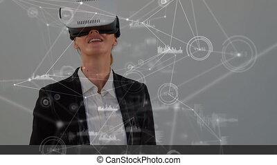 casque à écouteurs, femme affaires, virtuel, porter, realty