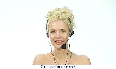 casque à écouteurs, femme, centre, work., positif, helpline,...
