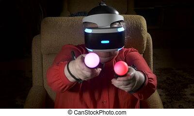 casque à écouteurs, femme, console, mouvement, jeu, personnes agées, mouvement, contrôleur, usages, vr, vidéo