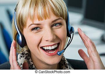 casque à écouteurs, femme, rire