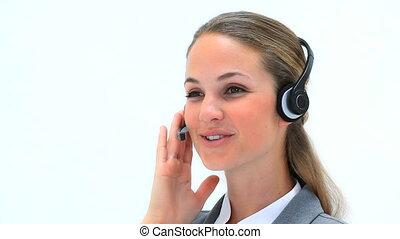 casque à écouteurs, femme souriant, porter
