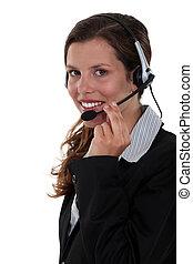 casque à écouteurs, femme souriante