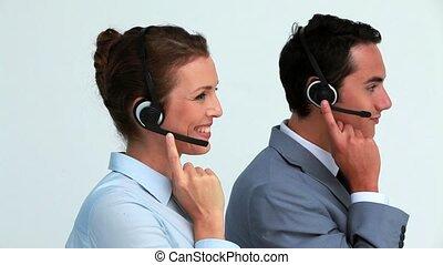 casque à écouteurs, gens, complet, côté, parler, vue