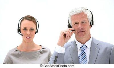 casque à écouteurs, gens parler, business