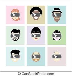 casque à écouteurs, gens, virtuel, porter, ensemble, différent, réalité