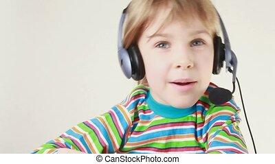 casque à écouteurs, girl, balance, côté, chante