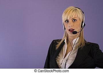casque à écouteurs, girl, blonds