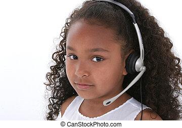 casque à écouteurs, girl, enfant