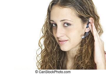 casque à écouteurs, girl