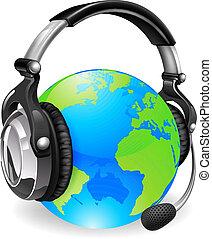 casque à écouteurs, globe, bureau, aide, mondiale