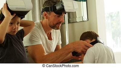 casque à écouteurs, gosses, sofa, père, réalité virtuelle, 4k, utilisation