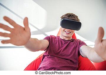 casque à écouteurs, homme, réalité virtuelle
