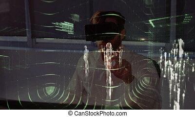 casque à écouteurs, homme, virtuel, données, réalité