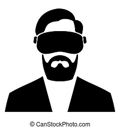 casque à écouteurs, icon., vecteur, réalité virtuelle