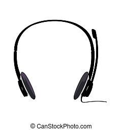 casque à écouteurs, illustration, réaliste