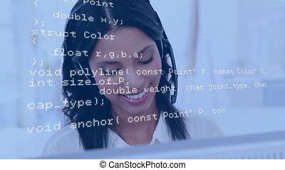 casque à écouteurs, informatique, quoique, utilisation, porter, femme