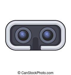casque à écouteurs, jeu, réalité virtuelle, vecteur, entertainment., icône