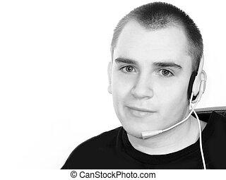 casque à écouteurs, jeune homme