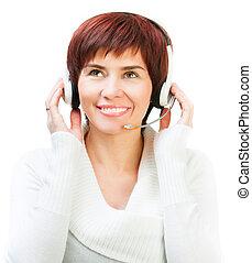 casque à écouteurs, joli, femme