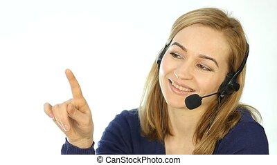 casque à écouteurs, lent, centre, work., positif, helpline,...