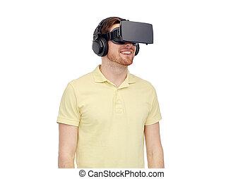 casque à écouteurs, lunettes, réalité virtuelle, homme, 3d, ou, heureux