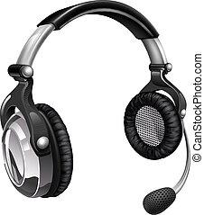 casque à écouteurs, microphone