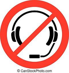 casque à écouteurs, non, symbol), signe, icône, permis, pas, (prohibition