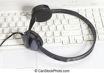 casque à écouteurs, ordinateur clavier, ordinateur portable