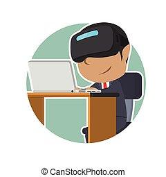 casque à écouteurs, ordinateur portable, africaine, vr, utilisation, homme affaires, cercle