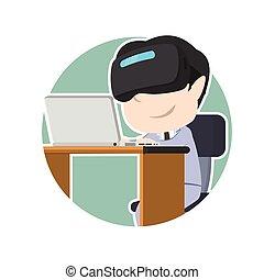 casque à écouteurs, ordinateur portable, vr, asiatique, utilisation, homme affaires, cercle
