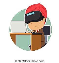 casque à écouteurs, ordinateur portable, vr, indien, utilisation, homme affaires, cercle