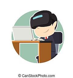 casque à écouteurs, ordinateur portable, vr, utilisation, homme affaires, cercle