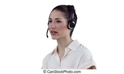 casque à écouteurs, par, communiquer, femme affaires