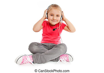 casque à écouteurs, petite fille