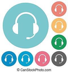 casque à écouteurs, plat, icônes