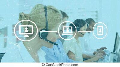 casque à écouteurs, porter, icônes, soin, client, réseau, numérique, contre, cadres