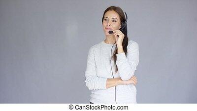 casque à écouteurs, quelqu'un, centre, agent, appeler, adorable, parler