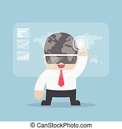 casque à écouteurs, réalité virtuelle, vr, utilisation, homme affaires, ou, lunettes