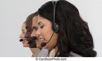 casque à écouteurs, sourire, équipe, business, utilisation