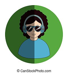 casque à écouteurs, stéréo, homme, cadre, circulaire
