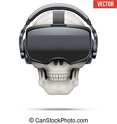 casque à écouteurs, stereoscopic, crâne, vr, original, 3d